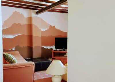 Mountain scene on lounge wall